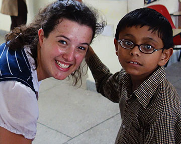 Volunteer in a school for mentally challenged and disabled children