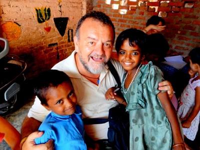 Senior volunteer in India