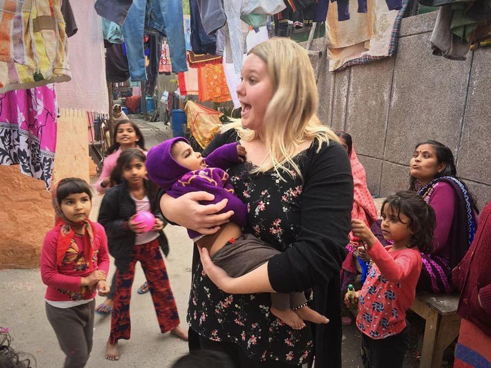 Melanie playing with street children